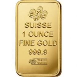 سبيكة ذهبية أونصة بوزن 31.1 غرام ذهب صافي بأعلى درجات النقاء 24 قيراط ونسبتها999.9