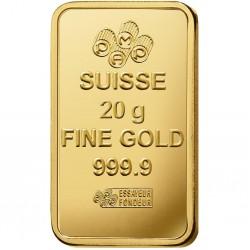 سبيكة ذهبية بوزن 20 غرام ذهب صافي بأعلى درجات النقاء 24 قيراط ونسبتها999.9